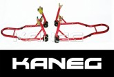 Red Front Caliper/fork  and Rear Hooked Stands + free set of mini-spools:  Sportbike Motorcycle Race Paddock Stands - Motorbike supports