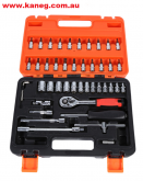 46 piece mini Tool set with 6 point Sockets, Hex and Torx Keys and Screwdriver bits