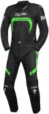 Borgetto 2 Piece Leather race Suit. Black - Fluro Highlights
