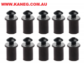 M5 Windshield - Fairing Black Hex Screw Blind Hole Wellnuts: 10 piece Combo Screw Grommet and Nut Kit