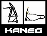 Black Front Headlift and Rear hooked Stands includes free mini spools:  Sportbike Motorcycle Race Paddock Stands - Motorbike supports